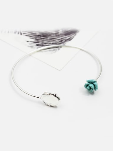 Elegant Adjustable Blue Rose Glass Bangle