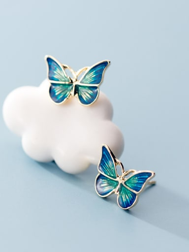 925 Sterling Silver With Gold Plated Cute Butterfly Stud Earrings