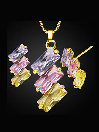 18K Fashion Baguette Colorfast Two Pieces Jewelry Set