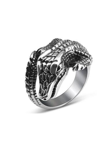 Titanium Personalized Crocodile Statement Ring