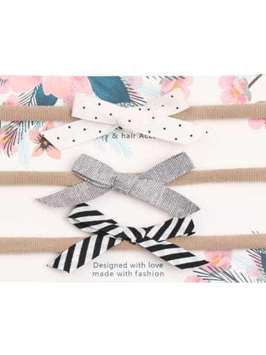 Children's hair accessories: printed cotton and linen, three sets of hairless hair