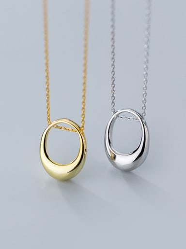 925 Sterling Silver With 18k Gold Plated Trendy Oval Necklaces