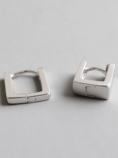 925 Sterling Silver With Platinum Plated Personality Square Clip On Earrings