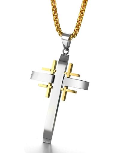 Fashionable Double Color Design Cross Shaped Titanium Pendant