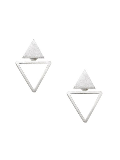 Fashion Personalized Double Triangle Silver Stud Earrings