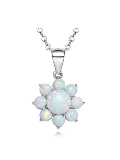 Fashion Opal stones Flowery 925 Silver Pendant