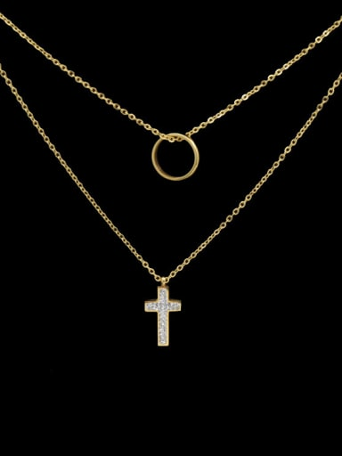 Double Layer Cross Shaped Titanium Necklace
