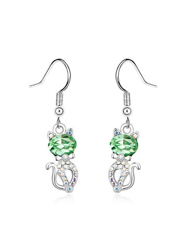 Fashion Little Cat Shiny Swarovski Crystals Alloy Earring