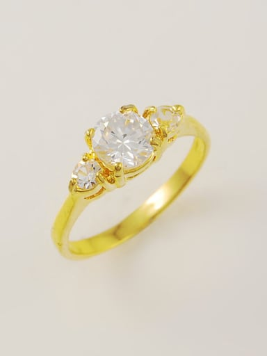 Elegant 24K Gold Plated Round Shaped Zircon Ring