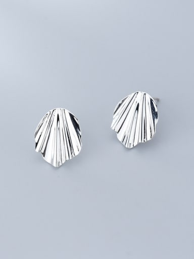 925 Sterling Silver With White Platinum Plated Simplistic Irregular Stud Earrings