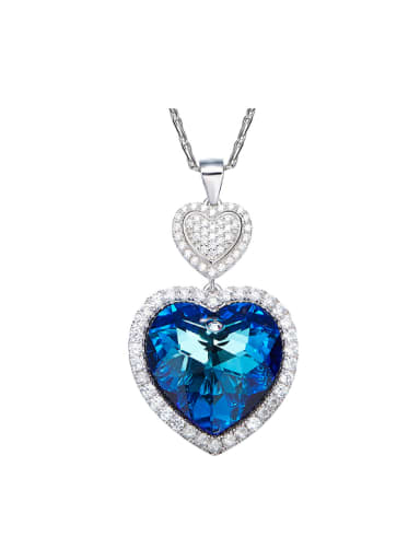Swarovski Crystals Double Heart Shaped Necklace