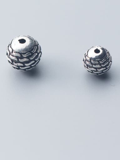 925 Sterling Silver With Antique Silver Plated Vintage Lines Round Beads