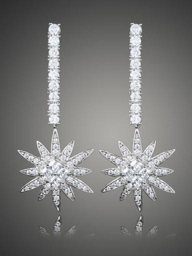 Fashion Cubic Zirconias Copper Flowery Drop Earrings