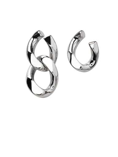 Alloy With Platinum Plated Simplistic Asymmetric Metal Chain  Earrings