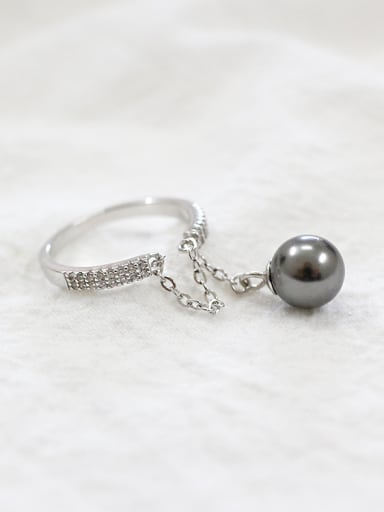 Personalized Black Artificial Pearl Tiny Zirconias Silver Opening Ring