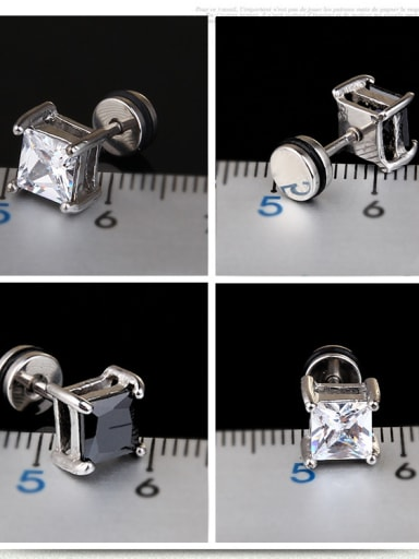 Stainless Steel With Fashion Square Stud Earrings