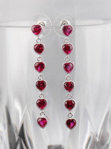 Long Love Heart Beautiful Ruby 925 Sterling Silver Needle drop earring