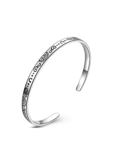 Bohemia style 999 Silver Flowery Patterns-etched Opening Bangle