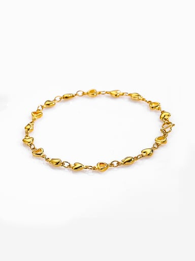 Copper Alloy 23K Gold Plated Simple style Heart-shaped Bracelet
