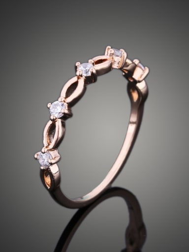 Simple Rose Gold Plated Cubic Zirconias Copper Ring
