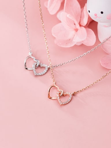 925 Sterling Silver With  Cubic Zirconia Simplistic Heart Necklaces