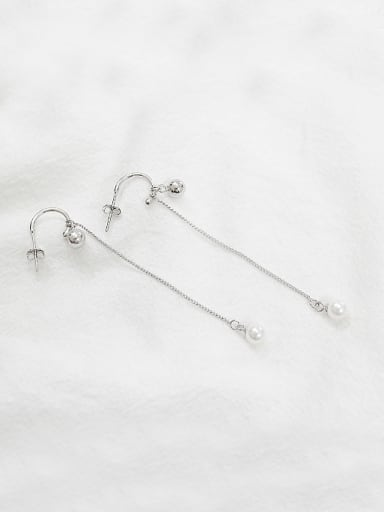 Simple Little Beads Artificial Pearl Silver Earrings