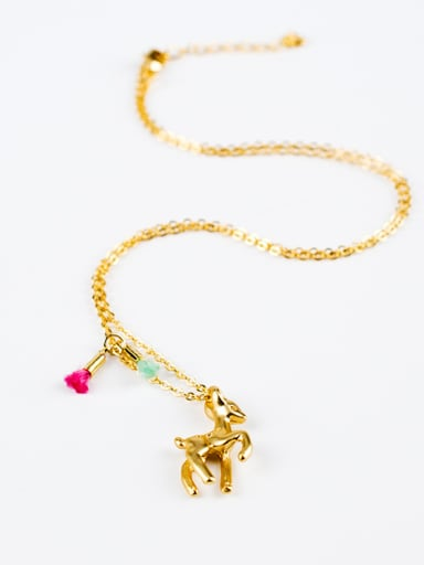 Women Lovely 18K Gold Plated Deer Shaped Necklace