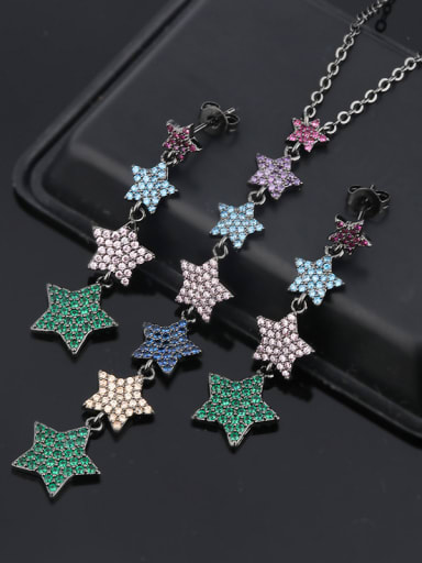 Copper With Cubic Zirconia Trendy Star 2 Piece Jewelry Set