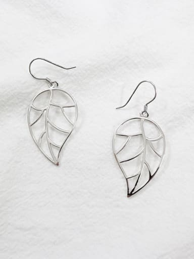 Simple Hollow Leaf Silver Women Earrings