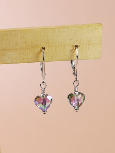 Elegant Shiny Heart Crystal 925 Silver Earrings