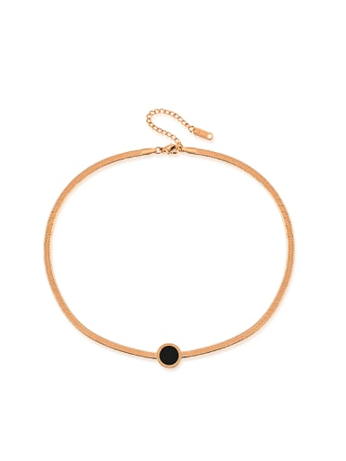 Fashion Black Round Rose Gold Plated Necklace
