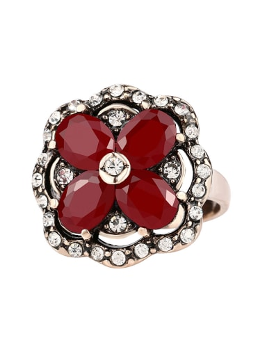 Bohemia Retro style Flowery Resin stones White Crystals Ring