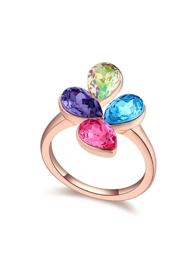Fashion Colorful Water Drop Swarovski Crystals Alloy Ring
