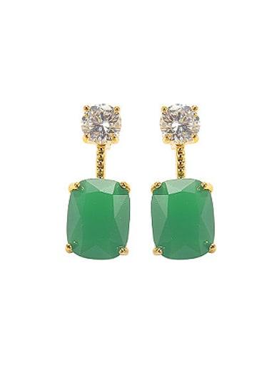 Retro Artificial Jade Zircon Stud Earrings