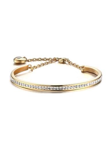All-match Gold Plated Geometric Shaped Rhinestone Bracelet