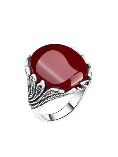 Retro style Oval Stone Crystals Alloy Ring