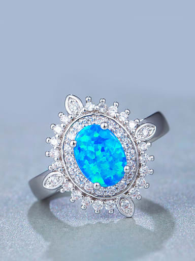 UNIENO new synthetic 6*8mm Blue Opal Engagement Ring