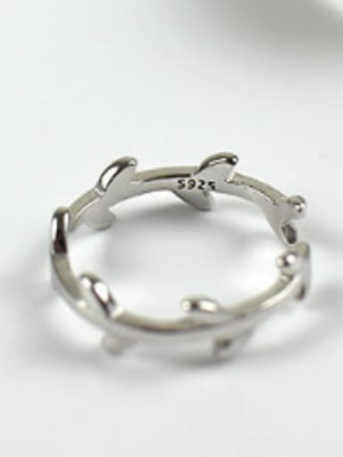 Sterling silver leaf love twist joint ring tail ring