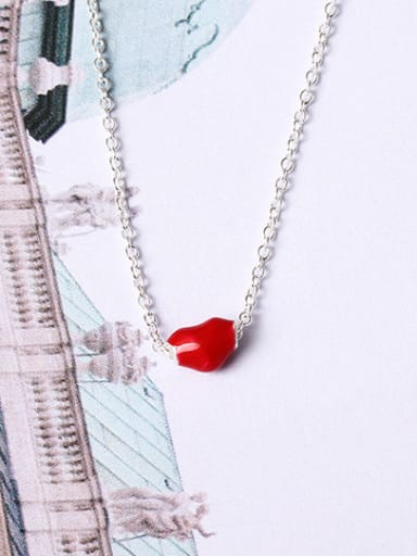 Red Glue Heart Clavicle Necklace