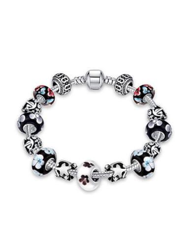 Retro Decorations Flowery Glass Beads Bracelet