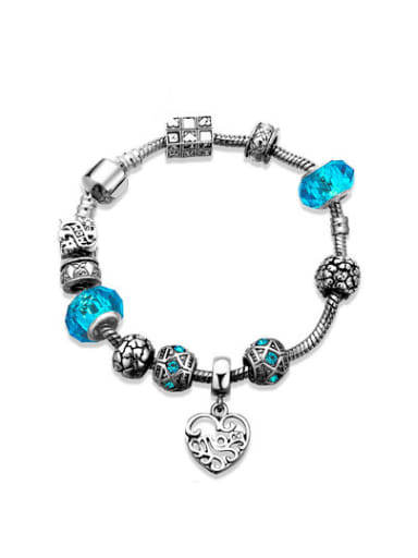 Blue Heart Shaped Glass Stone Bracelet