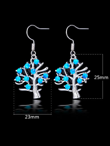 Blue Tree Shaped hook earring