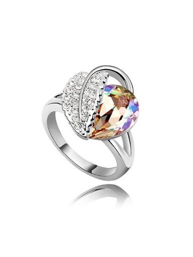 Fashion Water Drop Swarovski Crystal Leaf Alloy Ring