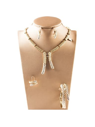Slub Rhinestones Colorfast Four Pieces Jewelry Set
