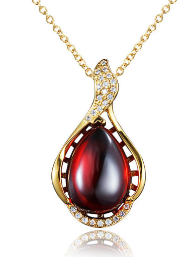 Red 18K Gold Plated Water Drop Opal Necklace