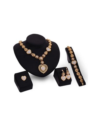 Alloy Imitation-gold Plated Classical style Rhinestones Heart-shaped Hollow Four Pieces Jewelry Set