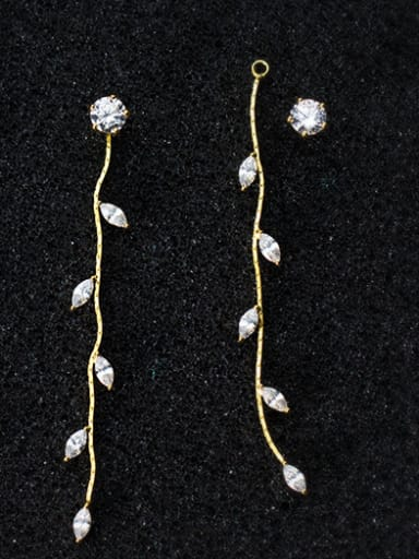 All-match Gold Plated Leaf Shaped Zircon S925 Silver Drop Earrings