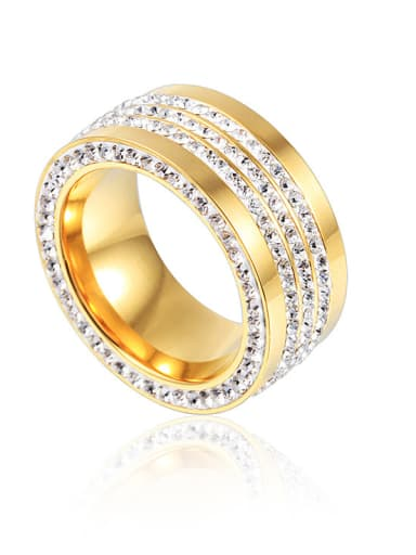 Stainless Steel With Gold Plated Cubic Zirconia Fashion Band Rings