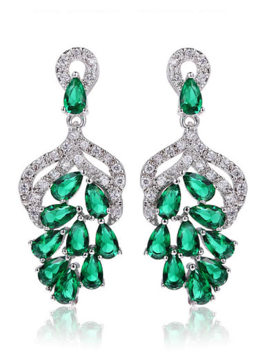 Flower shaped Shining AAA Zircons Fashion Drop Earrings