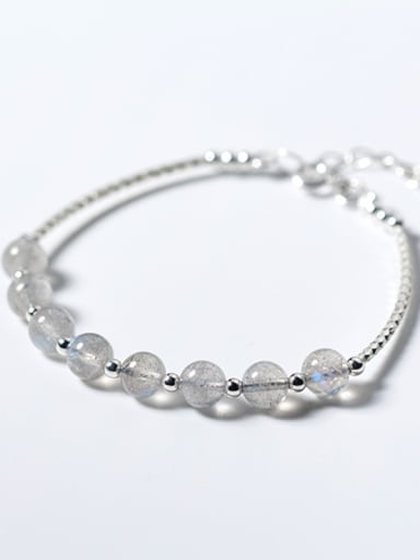 925 Sterling Silver With Silver Plated Simplistic Charm and Moonstone crystal Add-a-bead Bracelets
